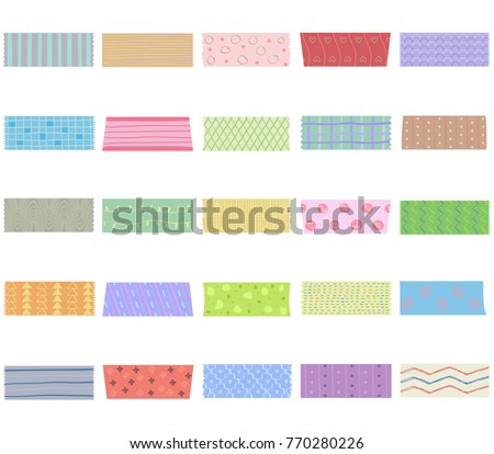 Vector illustration set of cute colorful hand drawn masking tape (Washi tape) fabric strip, blank tags labels stickers with patterns in pastel color as design elements for decoration isolated on white