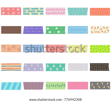 Vector illustration set of cute colorful hand drawn masking tape (Washi tape) fabric strip, blank tags label stickers with patterns in pastel color as design elements for decoration isolated on white