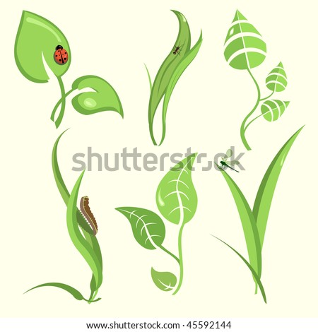 Vector illustration set of design plant leaves with funny insects