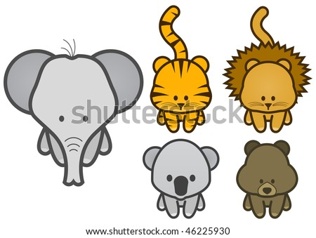 Vector illustration set of different cartoon wild/zoo animals. All vector objects and details are isolated and grouped. Colors and transparent background color are easy to adjust. - stock vector