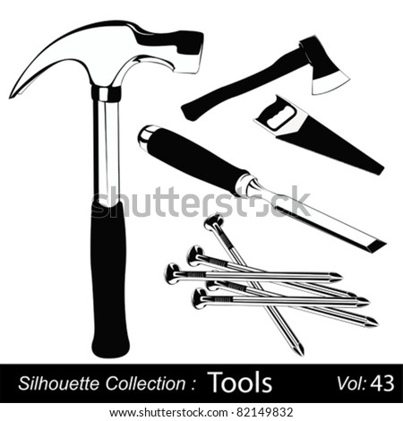 Vector illustration set of different hand tools for handcraft works