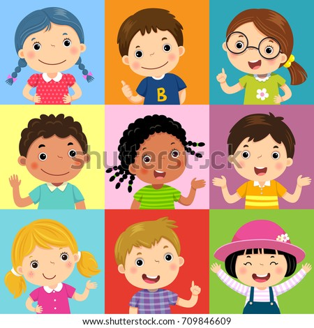 Vector illustration set of different kids with various postures