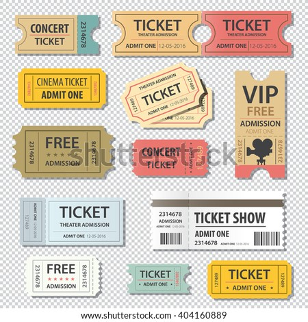 vector illustration set of different movie show ticket