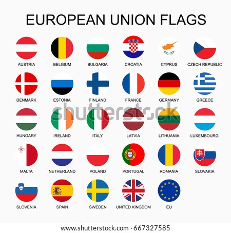 Vector illustration set of European Union countries flags on white background. EU members flags. #667327585