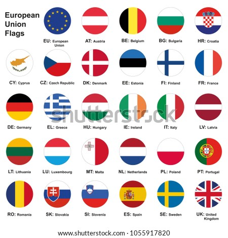 Vector illustration. Set of european union flags with names and Country Abbreviations. European Union country flags,member states EU. 29 flags+ eu flag. #1055917820