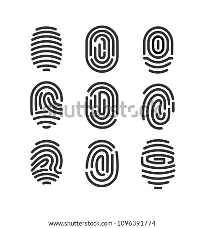 Vector illustration set of fingerprint icons on white background in minimalist style. #1096391774