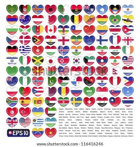 vector illustration set of flag of 110 nations in valentine heart shape