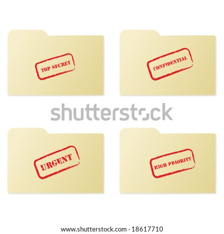 Vector illustration set of folders with different messages: top secret, confidential, urgent and high priority