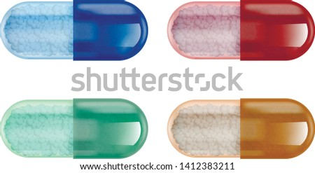 Vector illustration, set of four multicolored transparent gelatin capsules with medicines in the form of granules inside.