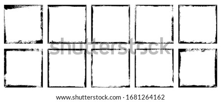 Vector illustration. Set of 10 frames in grunge style. Dirty borders collection on white background. Design elements for banner, poster, flyer, invitation, card, social networks, blog posts, stories
