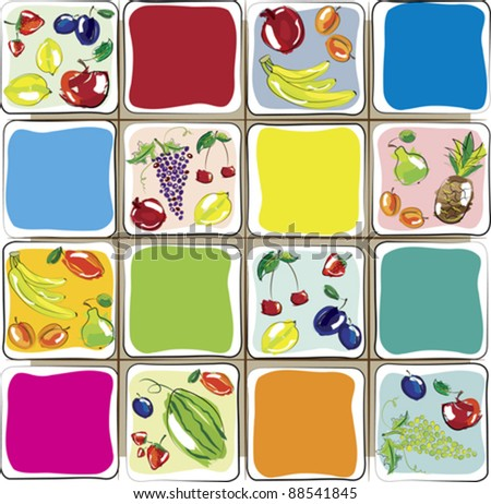 Vector illustration - set of fruits. Design for kitchen - stock vector