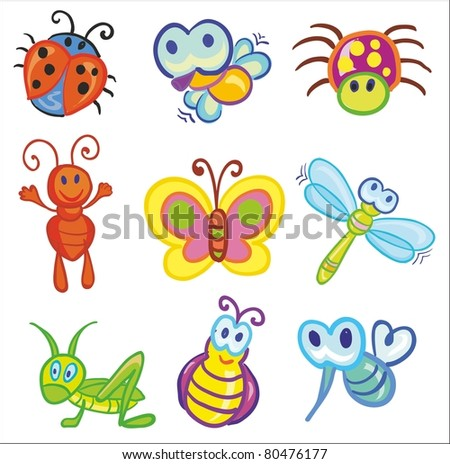 Vector illustration - set of funny little insects icons