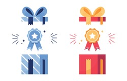 Vector illustration set of gift and awards. Prize in an open box. First place icon, victory. Medal with ribbon. Good result. Star on the reward. Achievements for games, sports. Blue and Red. Eps 10