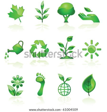 Vector illustration set of glossy green environmental icons