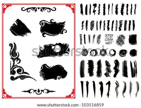 Vector Illustration. Set of grunge brush strokes