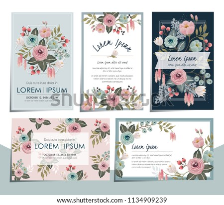 Vector illustration set of hand drawn floral cards for wedding, anniversary, birthday parties. Design for icons, web design, print project for banner, poster, invitation, brochure and scrapbook.  #1134909239