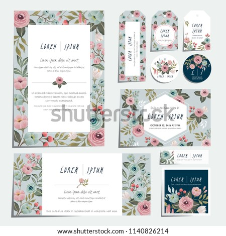 Vector illustration set of hand drawn floral cards for wedding, anniversary, birthday parties. Design for icons, web design, print project for banner, poster, invitation, brochure and scrapbook.  #1140826214