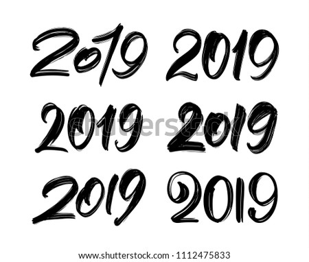 Vector illustration: Set of Handwritten lettering of 2019. Happy New Year. Chines calligraphy