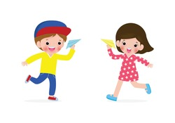 Vector illustration Set of Happy Children boy and girl playing with paper airplane,children and origami plane flying on the sky isolated on white background