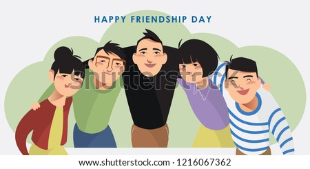 Vector illustration set of happy friends. Character collection of a group of people putting arms around each other's shoulders. Flat styled design for presentation, project, banner, poster, card. Stock photo ©