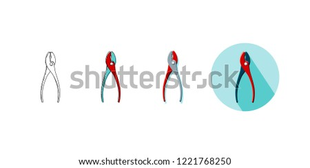 Vector illustration set of household tool pliers in four styles. Icons of pliers on turquoise background with shadow, line icon, line and color drawing, object with shadow in red, gray and black.