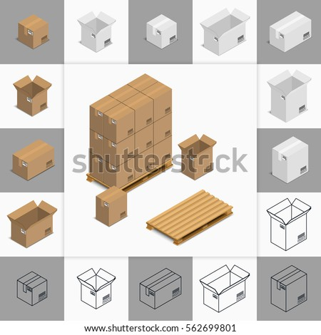 Vector illustration. Set of icons cardboard boxes open and closed, colorful and contour. Pallet with boxes. Isometric, 3D.