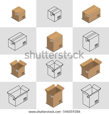 Vector illustration. Set of icons of open and closed cardboard boxes for shipping and delivery. Colorful and contour. Isometric, 3D.