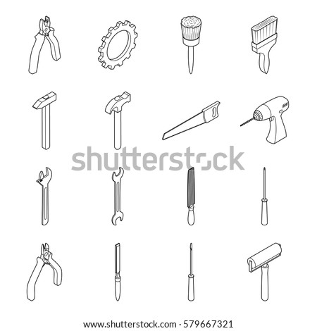 Vector illustration. Set of icons of tools for repair and construction. Isometric 3D. Hammer, gear, pliers, screwdriver, drill, saw. Contour.