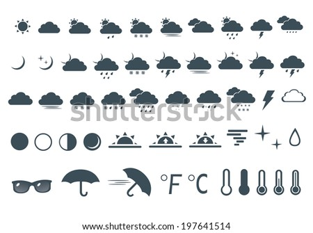 vector illustration set of icons of weather on white background
