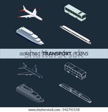 Vector illustration. Set of icons public passenger transport on a dark background. Airplane, ship, train, bus. Isometric, 3D. Contour, outline