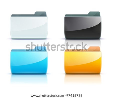 Vector illustration set of interface computer folder icons