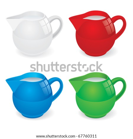 Vector Illustration set of jugs with milk on white