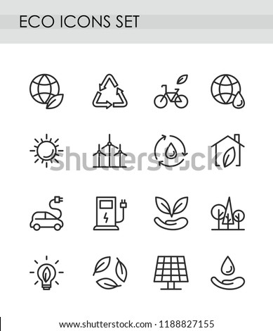 Vector illustration set of line eco icons. Green technologies concept. recycling, alternative energy, electrocar icons collection. environmental protection, eco care isolated on white background.