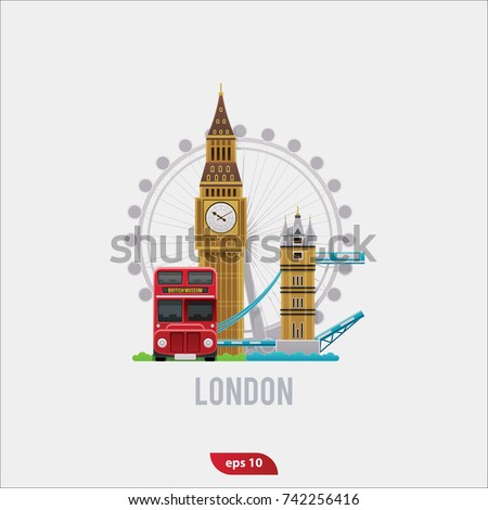 Vector illustration set of London, flat symbols of Big Ben, of london bridge, of double decker london bus and London Eye