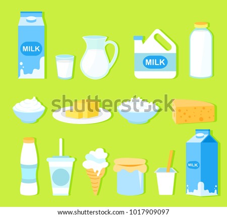 vector illustration set of milk