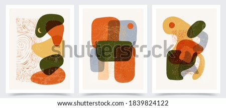 Vector illustration. Set of minimalist abstraction painting. Wavy shapes and lines. Old vintage concept. Design for cover, poster, postcard, card, flyer, brochure. Marble swirl pattern texture.