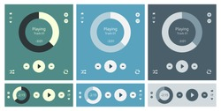 Vector illustration set of modern minimalistic media player user interface with panel control in modern flat design
