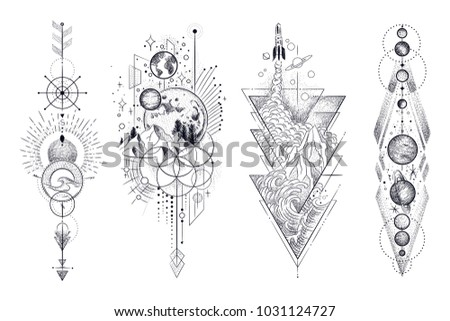 vector illustration set of moon ...