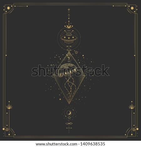 Vector illustration set of moon phases. Different stages of moonlight activity in vintage engraving style. Zodiac Signs. yellow gold #1409638535
