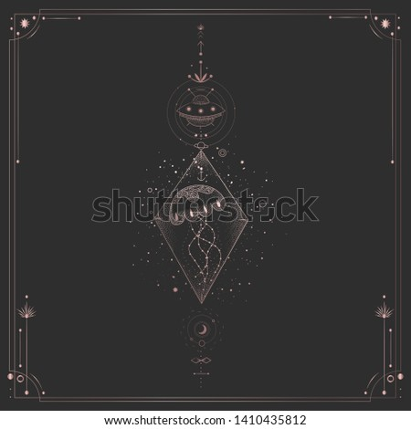 Vector illustration set of moon phases. Different stages of moonlight activity in vintage engraving style. Zodiac Signs. pink gold #1410435812