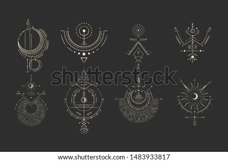 Vector illustration set of moon phases. Different stages of moonlight activity in vintage engraving style. Zodiac Signs Stock photo ©