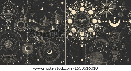 Vector illustration set of moon phases. Different stages of moonlight activity in vintage engraving style. Zodiac Signs stock photo
