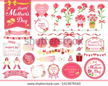 Vector illustration set of Mother's day /  carnation, gifts, ribbons / Design for gifts, invitations, frames, banners, menus, labels and websites.