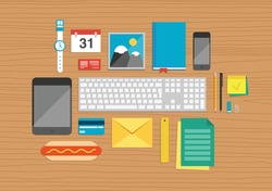 Vector illustration set of office and business work elements on a desk texture in flat design. Top view.