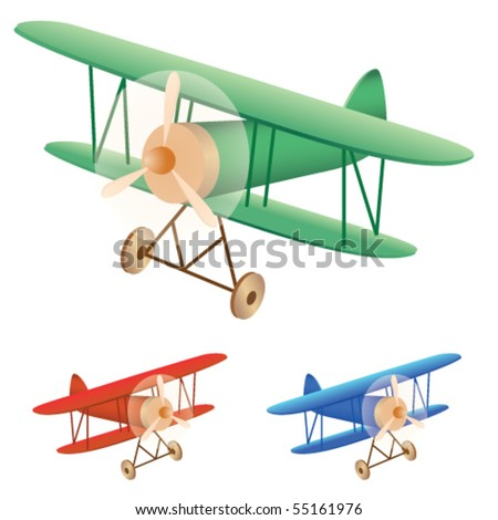Vector illustration set of old biplane