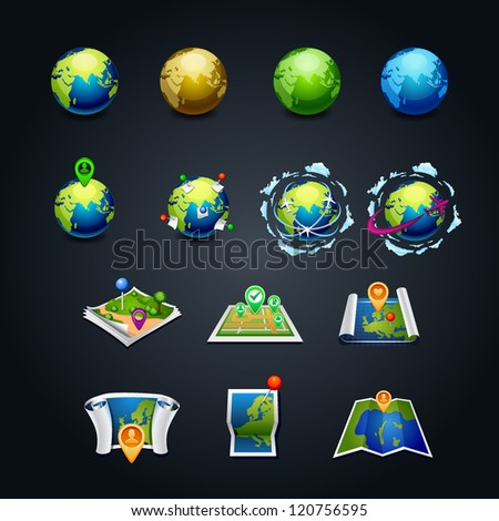 vector illustration set of planet earth icon with a pins and airplanes  travel set icon map web design. element