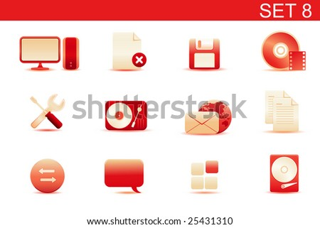 Vector illustration ? set of red elegant simple icons for common computer and media devices functions.Set-8