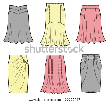 225a2579610b24 Woman Casual Clothes With Frills Vector Set - Download Free Vector ...