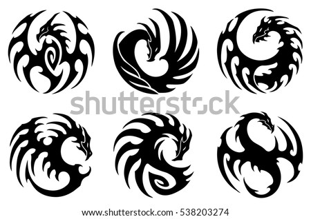 Dragon Silhouettes Set Free Vector on home design templates
