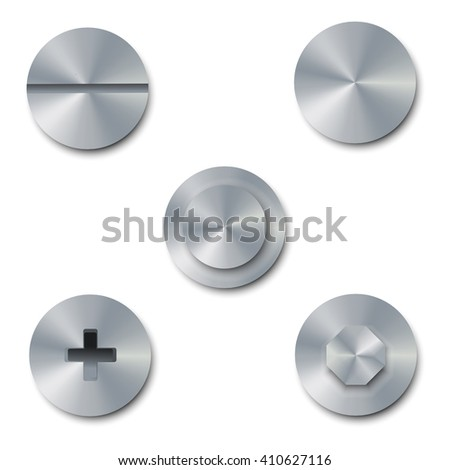 Vector illustration set of screws and bolts on white background. Bolt cap top view. Collection of metal shiny screws and bolts